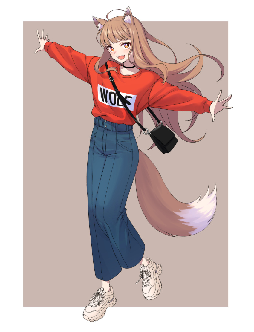 1girl animal_ear_fluff animal_ears bag balenciaga balenciaga_triple_s bangs beige_background black_choker brown_hair child_(isoliya) choker cowlick denim english_text fang fox_ears handbag highres holo jeans long_hair looking_at_viewer looking_up orange_eyes outstretched_arms pants red_sweater shoes smile sneakers solo spice_and_wolf sweater t-pose tail wolf_ears wolf_girl wolf_tail
