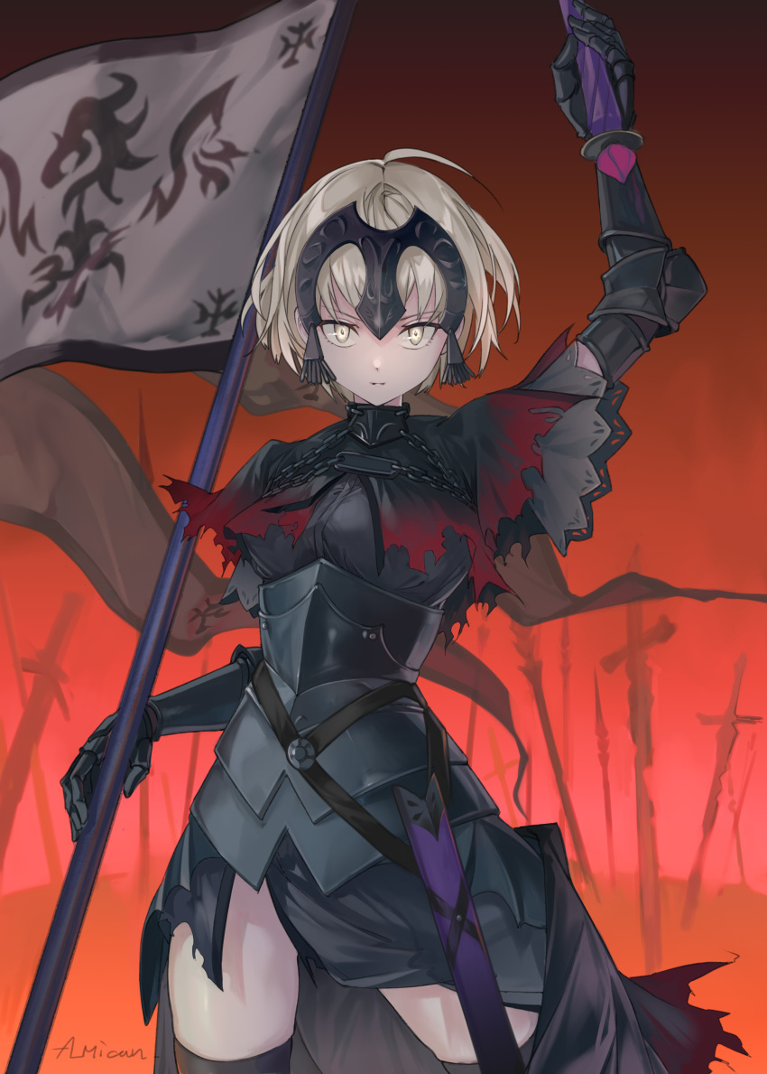 1girl absurdres al_mican arm_up armor blonde_hair chain fate/grand_order fate_(series) flag gauntlets highres holding holding_flag holding_sword holding_weapon jeanne_d'arc_(alter)_(fate) jeanne_d'arc_(fate)_(all) parted_lips pauldrons planted planted_sword planted_weapon scabbard sheath short_hair shoulder_armor signature solo sword torn_clothes weapon yellow_eyes