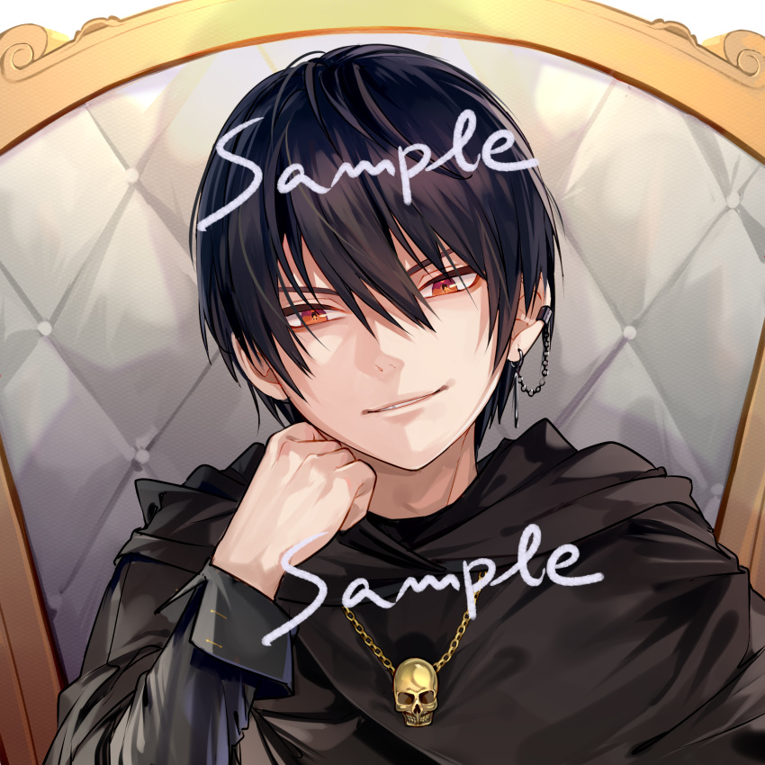 1boy al_mican black_cloak black_hair chain chair cloak commission earrings english_text face hair_between_eyes highres jewelry male_focus necklace orange_eyes original parted_lips piercing sample skull skull_necklace smile solo throne upper_body