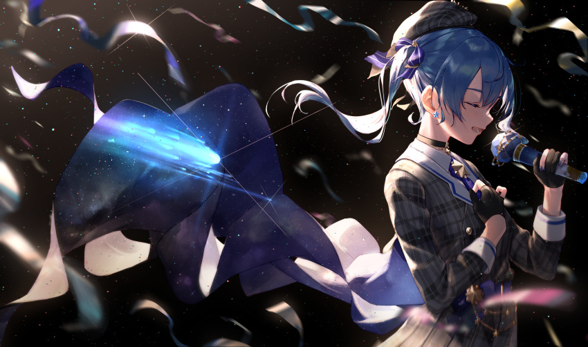 1girl absurdres beret black_background black_choker black_gloves blue_hair blue_neckwear breasts choker closed_eyes collared_shirt comet commentary earrings fingerless_gloves from_side glint gloves grey_headwear grey_jacket hair_between_eyes hand_on_own_chest hat highres holding holding_microphone hololive hoshimachi_suisei huge_filesize jacket jewelry light_particles medium_hair microphone music open_mouth plaid_headwear plaid_jacket profile ribbon shirt side_ponytail simple_background singing small_breasts smile solo star_(symbol) star_earrings starry_sky_print takubon upper_body virtual_youtuber white_shirt wing_collar
