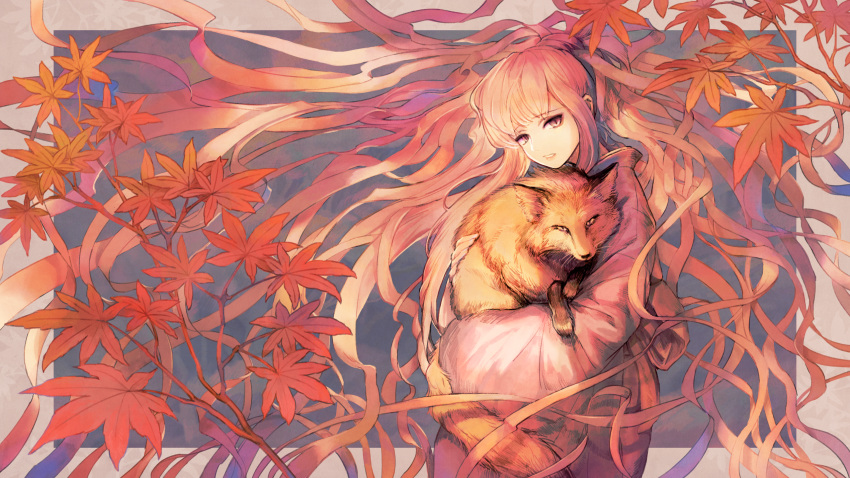 1girl animal autumn_leaves floating_hair fox highres holding holding_animal inunoya leaf long_hair long_sleeves looking_at_viewer maple_leaf original parted_lips pink_hair plant solo upper_body