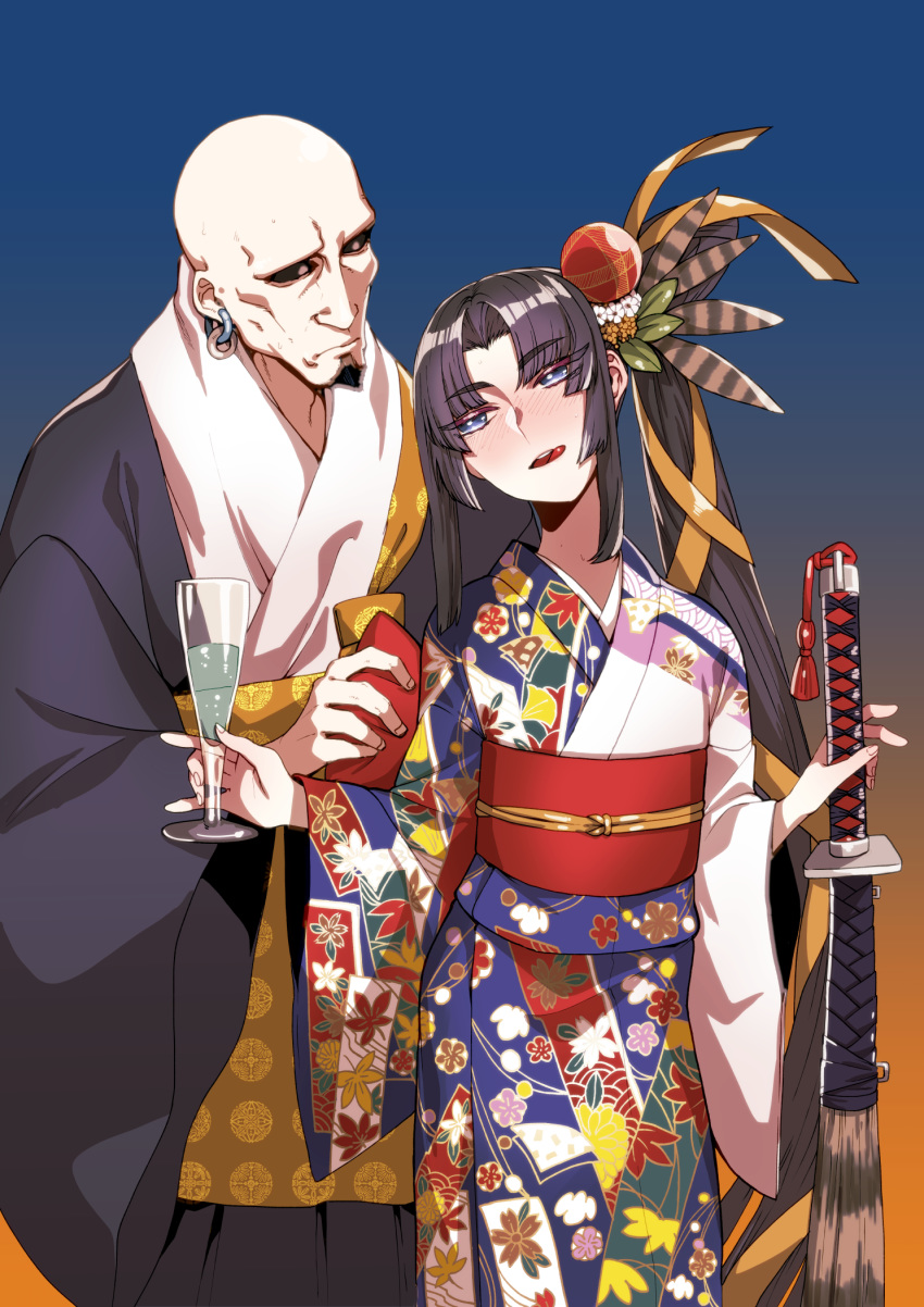 1boy 1girl alcohol bald black_hair black_kimono black_sclera blue_eyes blush cup drinking_glass drunk earrings eyebrows_visible_through_hair facial_hair fate/grand_order fate_(series) flat_chest goatee height_difference highres hoop_earrings japanese_clothes jewelry katana kimono licking_lips long_hair musashibo_benkei_(fate/grand_order) no_eyebrows obi print_kimono rokkotsu sash side_ponytail sword tongue tongue_out ushiwakamaru_(fate/grand_order) very_long_hair weapon wine_glass yukata
