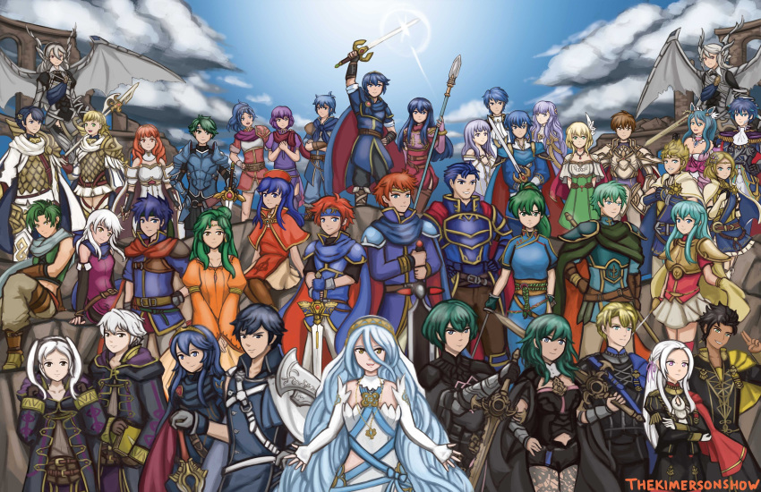 00s 10s 6+boys 6+girls 90s absurdres alfonse_(fire_emblem) alm_(fire_emblem) aoi_itsuki azura_(fire_emblem) blue_hair blue_sky byleth_(fire_emblem) byleth_(fire_emblem)_(female) byleth_(fire_emblem)_(male) caeda_(fire_emblem) cape celica_(fire_emblem) chrom_(fire_emblem) claude_von_riegan commentary corrin_(fire_emblem) corrin_(fire_emblem)_(female) corrin_(fire_emblem)_(male) deirdre_(fire_emblem) dimitri_alexandre_blaiddyd dress edelgard_von_hresvelg eirika_(fire_emblem) elincia_ridell_crimea eliwood_(fire_emblem) ephraim_(fire_emblem) everyone fire_emblem fire_emblem:_genealogy_of_the_holy_war fire_emblem:_mystery_of_the_emblem fire_emblem:_new_mystery_of_the_emblem fire_emblem:_path_of_radiance fire_emblem:_radiant_dawn fire_emblem:_the_binding_blade fire_emblem:_the_blazing_blade fire_emblem:_the_sacred_stones fire_emblem:_thracia_776 fire_emblem:_three_houses fire_emblem_awakening fire_emblem_echoes:_shadows_of_valentia fire_emblem_fates fire_emblem_heroes fire_emblem_musou gen'ei_ibunroku_sharp_fe hector_(fire_emblem) highres ike_(fire_emblem) julia_(fire_emblem) katarina_(fire_emblem) kimerson kris_(fire_emblem) leif_(fire_emblem) lens_flare lian_(fire_emblem) lilina_(fire_emblem) looking_at_viewer lucina_(fire_emblem) lyn_(fire_emblem) marth_(fire_emblem) micaiah_(fire_emblem) multiple_boys multiple_girls nanna_(fire_emblem) oribe_tsubasa polearm purple_hair robin_(fire_emblem) robin_(fire_emblem)_(female) robin_(fire_emblem)_(male) roy_(fire_emblem) scarf seliph_(fire_emblem) sharena sigurd_(fire_emblem) silver_hair sky sothe_(fire_emblem) spear sword thekimersonshow weapon zion_(fire_emblem)