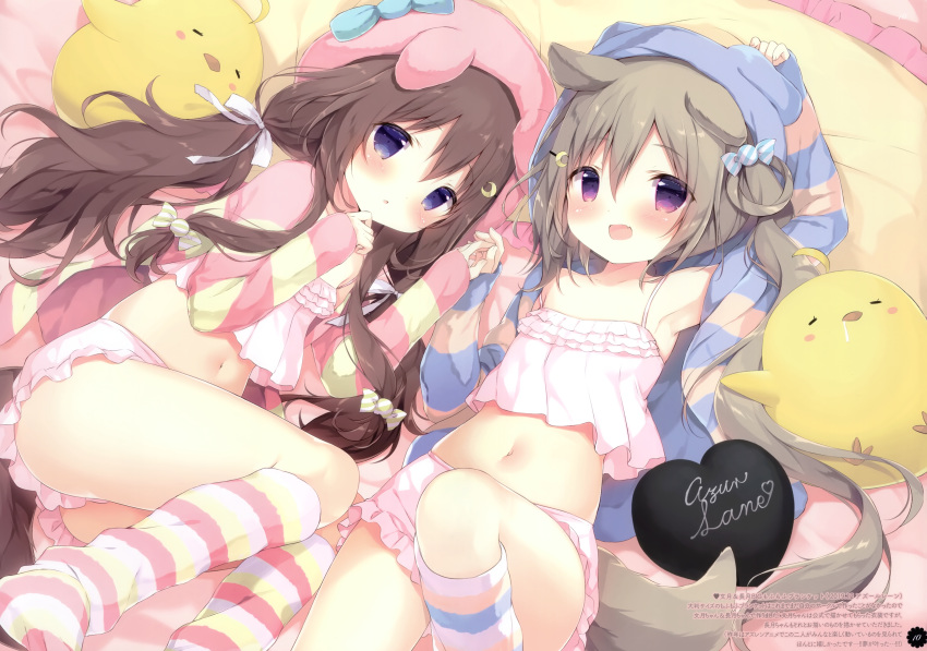 2girls :d :o absurdres animal_ears animal_hat animal_hood arm_up armpits ass azur_lane bangs bare_shoulders bed_sheet bloomers blue_bow blue_eyes blush bow brown_hair camisole candy_hair_ornament commentary_request copyright_name crescent crescent_hair_ornament crop_top dog_ears dog_girl dog_hood dog_tail eyebrows_visible_through_hair fake_animal_ears fang food_themed_hair_ornament fumizuki_(azur_lane) fumizuki_(half-asleep_fairy)_(azur_lane) hair_between_eyes hair_ornament hair_ribbon hairclip hand_to_own_mouth hands_together hat heart highres holding_hands hood hood_up hooded_jacket huge_filesize jacket knee_up kneehighs long_hair long_sleeves low_twintails lying midriff multiple_girls nagatsuki_(azur_lane) navel on_back on_side open_clothes open_jacket open_mouth open_shirt parted_lips pillow pink_headwear ponytail ribbon shiratama_(shiratamaco) shirt short_shorts shorts side_ponytail sleepwear sleeves_past_wrists smile striped striped_jacket striped_legwear striped_shirt tail twintails underwear very_long_hair violet_eyes white_bloomers white_camisole white_ribbon white_shorts