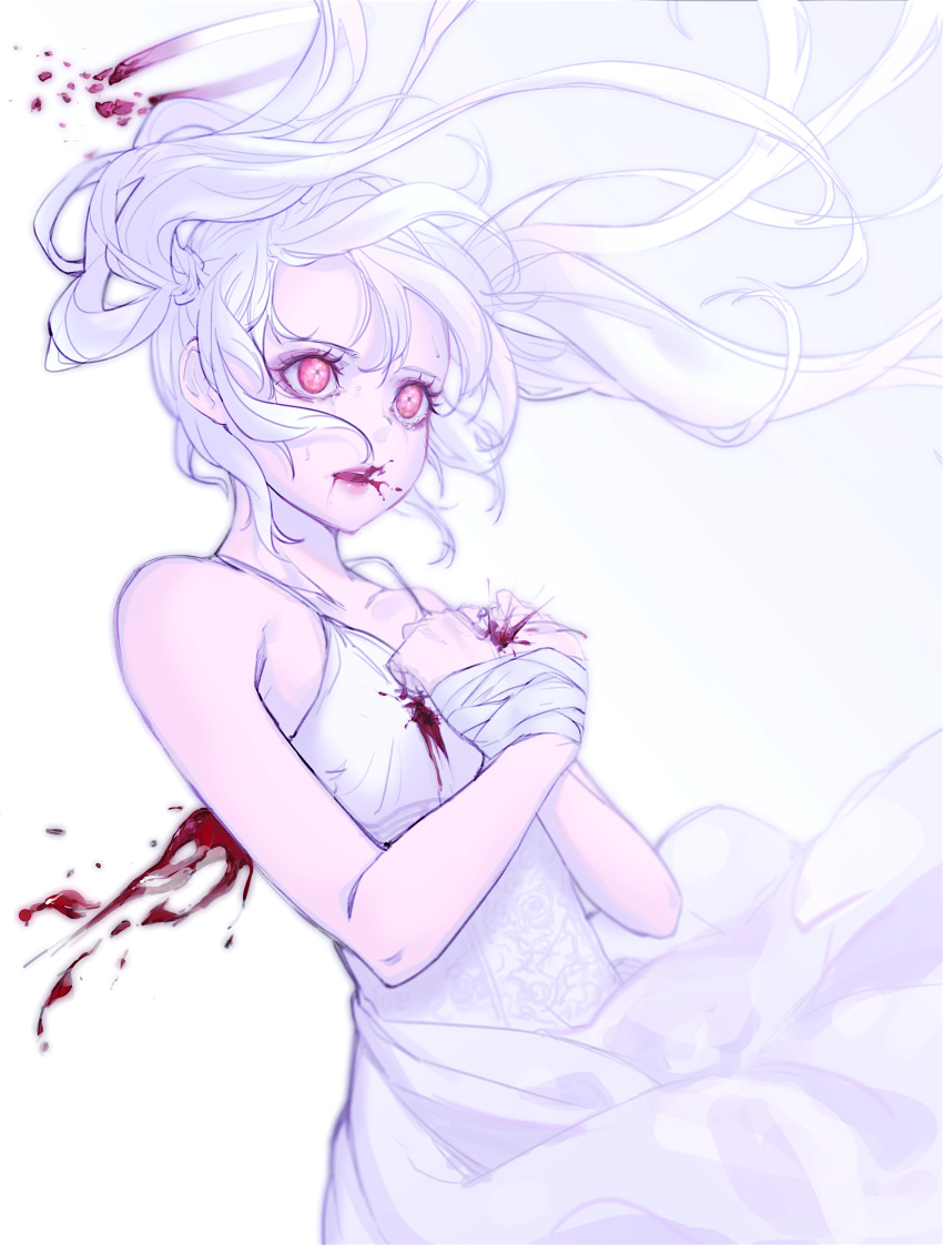 1girl absurdres angel bandaged_hands bandages bare_shoulders bleeding blood blood_from_mouth bloody_clothes bound broken broken_halo collarbone dress eyeshadow fantasy halo highres injury long_hair makeup original pink_eyes pink_lips purple_eyeshadow rakugaki_suruhito tied_up twintails white_dress white_hair white_theme
