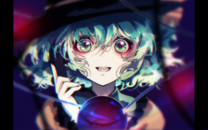1girl aqua_hair arm_up bags_under_eyes black_headwear blurry blurry_background blurry_foreground commentary_request depth_of_field frilled_shirt_collar frills green_eyes hair_between_eyes hat horror_(theme) komeiji_koishi looking_at_viewer open_mouth phone pillarboxed sanamisa shirt short_hair solo standing surreal third_eye touhou upper_body upper_teeth yellow_shirt