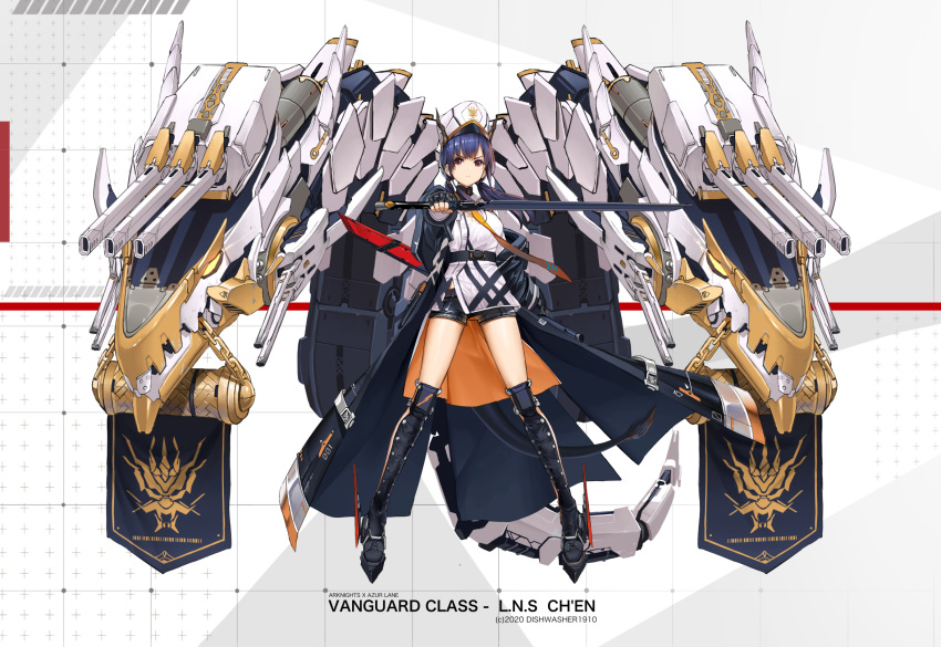1girl arknights azur_lane banner black_coat black_footwear black_shorts blue_hair boots brown_eyes ch'en_(arknights) character_name coat crossover dishwasher1910 dragon_horns dragon_tail dual_wielding full_body grid highres holding holding_sword holding_weapon horns horns_through_headwear long_coat long_hair looking_at_viewer low_twintails machinery neckwear open_clothes open_coat red_eyes rigging rudder_footwear shin_guards shirt short_shorts shorts sword tail thigh-highs thigh_boots thighs turret twintails v-shaped_eyebrows weapon weapon_on_back white_background white_headwear white_shirt yellow_neckwear