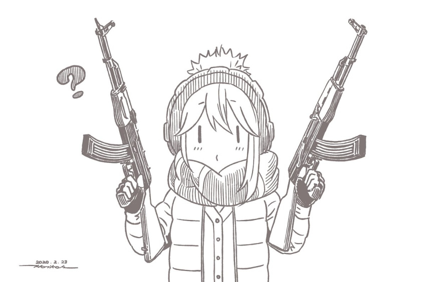 1girl ? ak-47 assault_rifle brown_theme character_request closed_mouth coat dual_wielding eyebrows_visible_through_hair gun holding holding_gun holding_weapon horikou long_sleeves looking_at_viewer monochrome o3o rifle scarf simple_background solo weapon white_background winter_clothes winter_coat yurucamp |_|
