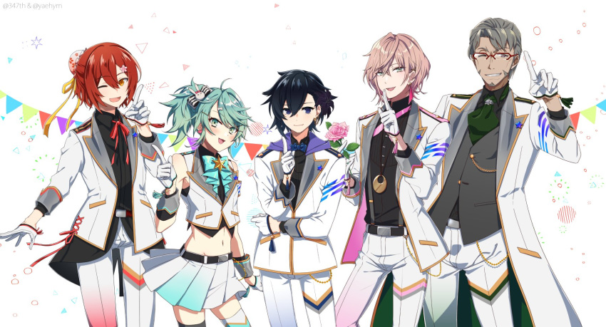 5boys :d ;d ahoge anniversary aqua_eyes arurandis bare_shoulders belt belt_buckle black_hair blush bow bowtie buckle closed_mouth collaboration commentary_request dark_skin dark_skinned_male eyebrows_visible_through_hair flower glasses green_eyes green_hair green_neckwear grey_hair grin hair_between_eyes hanasaki_miyabi hand_up happy highres holding holding_flower holostars index_finger_raised jacket jewelry kagami_kira kanade_izuru light_brown_hair looking_at_viewer male_focus midriff mudo_(saji) multiple_boys neck_ribbon necklace necktie one_eye_closed open_mouth orange_eyes otoko_no_ko pink_flower pink_neckwear pleated_skirt purple_neckwear ribbon rikka_(holostars) short_hair simple_background skirt smile teeth twitter_username two_side_up violet_eyes virtual_youtuber white_background white_jacket yaeyama_reishi