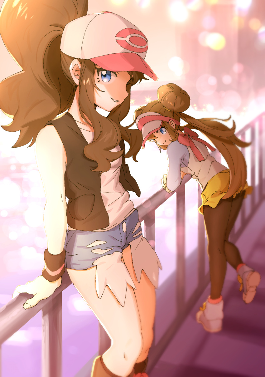 2girls ankea_(a-ramo-do) black_footwear black_legwear blue_eyes blue_shorts blue_sleeves blurry blurry_background boots brown_hair crossed_arms denim denim_shorts double_bun grin hat high_ponytail highres knee_boots leaning_forward lens_flare long_hair long_sleeves looking_at_viewer mei_(pokemon) multiple_girls outdoors pantyhose poke_ball_print pokemon pokemon_(game) pokemon_bw pokemon_bw2 print_headwear shiny shiny_hair shirt short_shorts shorts sleeveless sleeveless_shirt smile standing torn_clothes torn_shorts touko_(pokemon) twintails very_long_hair white_headwear white_shirt wristband yellow_shorts