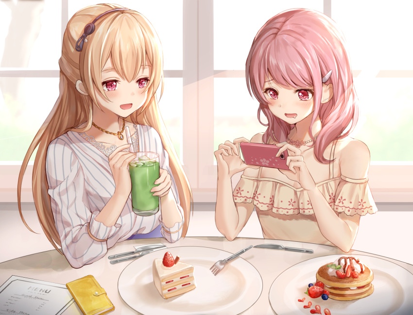 2girls :d bang_dream! bangs bare_shoulders blonde_hair blueberry blush cake cellphone collarbone commentary_request cup dress drinking_straw drooling eyebrows_behind_hair food fork frilled_shirt frills fruit hair_between_eyes hair_ornament hairband hairclip half_updo highres holding holding_cup holding_phone indoors jewelry knife light_rays long_hair looking_at_another looking_at_object maruyama_aya menu multiple_girls necklace nogi_momoko off-shoulder_shirt off_shoulder open_mouth pancake phone pink_eyes pink_hair plate shirasagi_chisato shirt sidelocks sitting slice_of_cake smartphone smile spoon stack_of_pancakes strawberry strawberry_shortcake striped sunbeam sunlight syrup taking_picture upper_body vertical-striped_dress vertical_stripes whipped_cream white_day window yellow_shirt