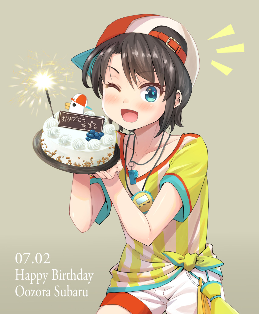 1girl absurdres backwards_hat baseball_cap bird blue_eyes blush_stickers brown_hair cake character_name commentary_request duck english_text fireworks food haniwa_(leaf_garden) happy_birthday hat highres hololive jersey looking_at_viewer one_eye_closed oozora_subaru open_mouth short_hair shorts smile sparkler sportswear stopwatch upper_body virtual_youtuber watch whistle whistle_around_neck