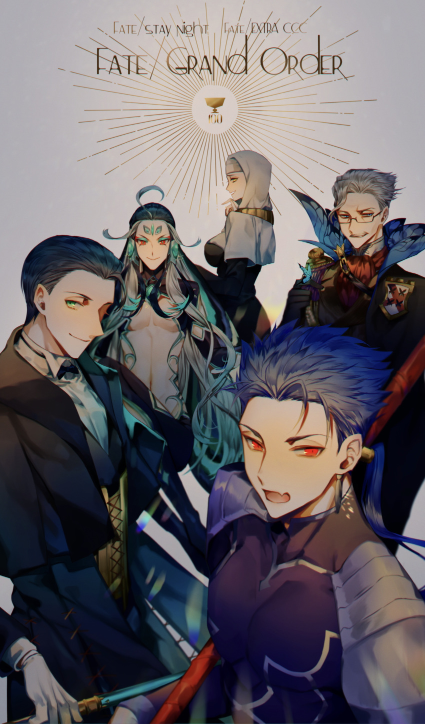 1girl 4boys absurdres ahoge albino_(a1b1n0623) bangs black_hair blue_eyes blue_hair blush breasts bug butterfly cane chest copyright_name cu_chulainn_(fate)_(all) earrings english_text eyeshadow fabulous facial_hair facial_mark fang fate/extra fate/extra_ccc fate/grand_order fate_(series) forehead_jewel forehead_mark formal gae_bolg glasses gloves green_eyes grey_hair hair_slicked_back highres holding holy_grail_(fate) insect jacket james_moriarty_(fate/grand_order) jewelry lancer large_breasts light_smile long_hair long_sleeves looking_at_viewer makeup male_focus multicolored_hair multiple_boys mustache navel number nun open_mouth parted_bangs polearm ponytail qin_shi_huang_(fate/grand_order) red_eyes revealing_clothes sesshouin_kiara sherlock_holmes_(fate/grand_order) shiny shiny_hair short_hair smile smirk spear tight two-tone_hair upper_body very_long_hair vest weapon white_hair white_headwear yellow_eyes