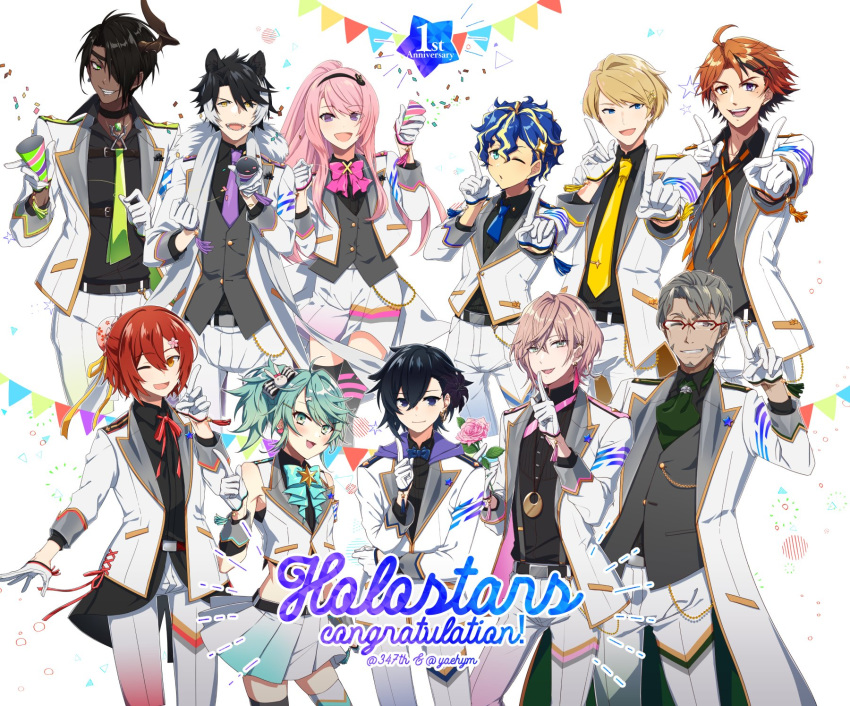 6+boys :d ;d ;o ahoge animal_ears anniversary aqua_eyes aragami_ouga arurandis astel_leda bare_shoulders belt belt_buckle black_hair blonde_hair blue_hair blue_neckwear blush bow bowtie buckle closed_mouth collaboration commentary_request confetti dark_skin dark_skinned_male dog_ears eyebrows_visible_through_hair eyepatch flower glasses green_eyes green_hair green_neckwear grey_hair grin hair_between_eyes hair_over_one_eye hanasaki_miyabi hand_up happy heterochromia highres holding holding_flower holostars horns index_finger_raised jacket jewelry kagami_kira kageyama_shien kanade_izuru kishido_temma light_brown_hair long_hair looking_at_viewer male_focus midriff mudo_(saji) multicolored_hair multiple_boys neck_ribbon necklace necktie one_eye_closed open_mouth orange_eyes orange_hair orange_neckwear otoko_no_ko pink_flower pink_hair pink_neckwear pleated_skirt ponytail purple_neckwear ribbon rikka_(holostars) sharp_teeth short_hair simple_background single_horn skirt smile streaked_hair teeth tsukishita_kaoru very_long_hair violet_eyes virtual_youtuber white_background white_hair white_jacket yaeyama_reishi yellow_neckwear yukoku_roberu