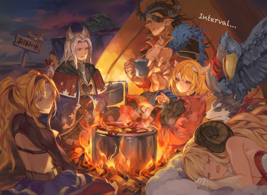 2boys 4girls abs alanaan anila_(granblue_fantasy) backless_outfit bare_back bird black_gloves black_hair blonde_hair campfire capelet closed_eyes clouds commentary_request cooking crossed_legs cup dark_skin dark_skinned_male djeeta_(granblue_fantasy) dog draph earrings english_text erune eyepatch facial_hair fire food fur_trim gloves goatee granblue_fantasy hair_ornament highres holding holding_cup horns jewelry kiriyama2109 long_hair long_sleeves lumberjack_(granblue_fantasy) lying meat monster mountain mouth_drool multiple_boys multiple_girls night open_mouth outdoors owl pot reinhardtzar ring sheep_horns shoebill short_hair shoulder_armor sign signature sitting sleeping spaulders sweatdrop teeth tent twintails wariza white_gloves white_hair zeta_(granblue_fantasy)