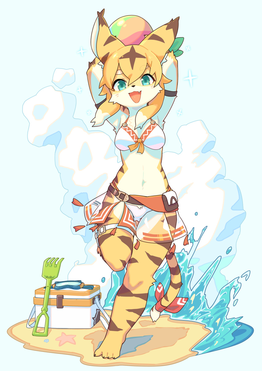 1girl absurdres animal_ears aqua_eyes armlet armpits arms_up ass_visible_through_thighs ball bangs barefoot beach beachball belt bikini bikini_skirt blonde_hair blue_background breasts cat_ears cat_tail claws clouds commentary cooler eyebrows_visible_through_hair fang full_body goggles green_ribbon happy hashiba_(848siba) highres holding leg_up looking_at_viewer medium_breasts mia_(world_flipper) multicolored_hair navel ocean open_mouth pouch rake red_ribbon ribbon sand see-through shiny shiny_hair short_hair skin_fang skindentation smile solo sparkle standing standing_on_one_leg starfish stomach swimsuit tail tail_ribbon thigh_gap thigh_strap two-tone_hair water white_bikini white_hair world_flipper