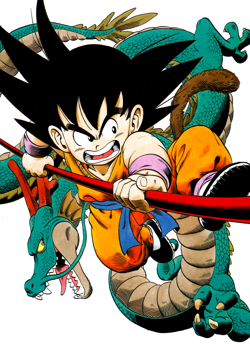 1boy absurdres animal black_eyes black_footwear black_hair collarbone commentary dougi dragon dragon_ball dragon_ball_(classic) fighting_stance fingernails frown full_body highres holding holding_weapon horns jumping kicking looking_afar male_focus monkey_tail nyoibo official_art open_mouth shaded_face sharp_teeth shenlong_(dragon_ball) shoe_soles son_gokuu spiky_hair tail teeth tongue toriyama_akira v-shaped_eyebrows weapon whiskers wristband