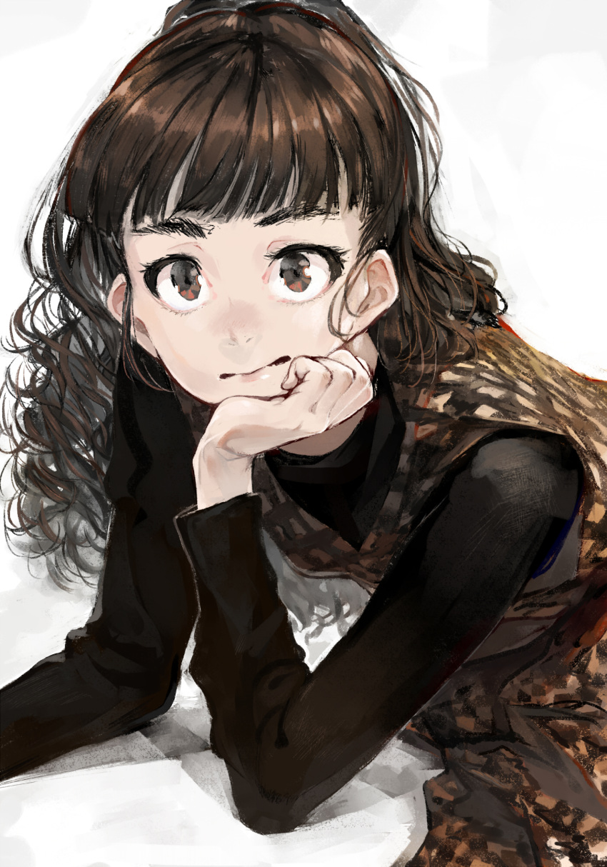 1girl audrey_hepburn bangs black_sleeves blunt_bangs brown_dress brown_hair checkered checkered_dress closed_mouth code-aa dress ears fine_art_parody half_updo hand_on_own_face highres idolmaster idolmaster_cinderella_girls idolmaster_cinderella_girls_starlight_stage kamiya_nao long_sleeves looking_at_viewer parody red_eyes shadow simple_background solo thick_eyebrows upper_body wavy_hair
