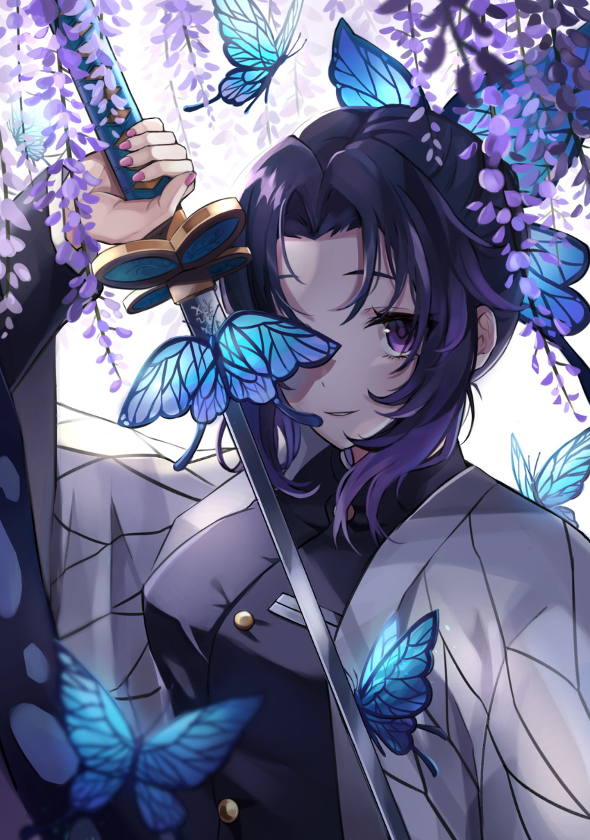 1girl black_background black_jacket blurry_foreground bug butterfly butterfly_hair_ornament flower hair_intakes hair_ornament haori highres holding holding_sword holding_weapon insect jacket japanese_clothes kimetsu_no_yaiba kochou_shinobu long_sleeves looking_at_viewer purple_background shiny shiny_hair solo sword two-tone_background upper_body violet_eyes weapon wisteria yutoriko_(candy0905)