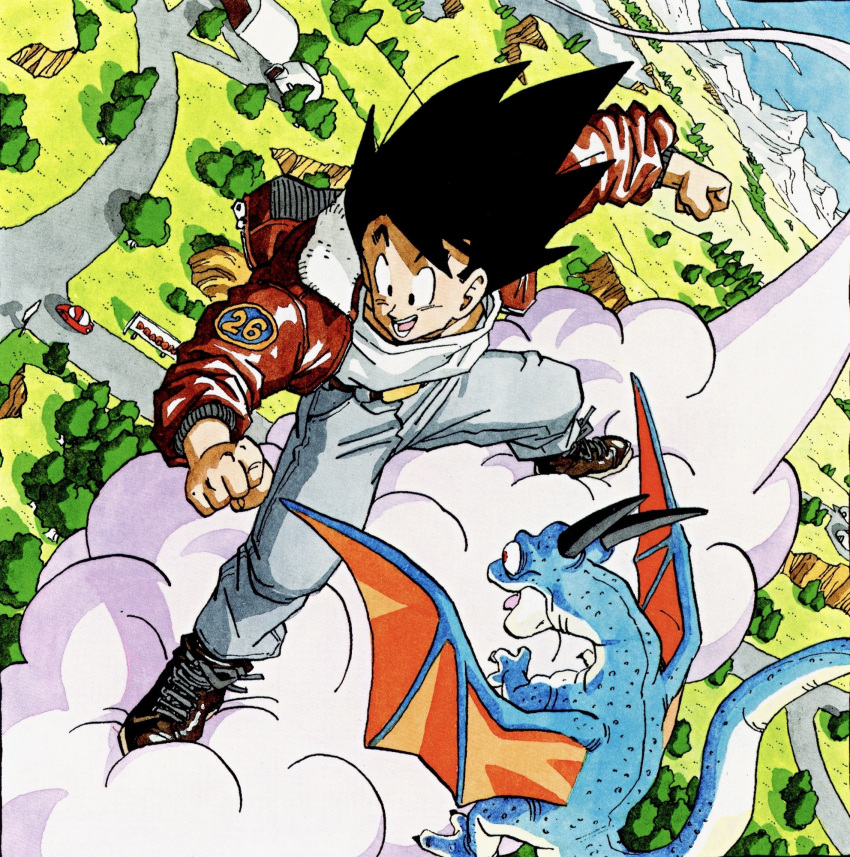 1boy :d animal belt black_eyes black_hair blue_sky brown_footwear bush car clenched_hands clouds cloudy_sky commentary day denim dinosaur dragon_ball dragon_ball_z dutch_angle flying flying_nimbus from_above fur-trimmed_jacket fur_trim grass ground_vehicle happy highres hill horizon house jacket jeans legs_apart looking_afar male_focus messy_hair motor_vehicle mountain mountainous_horizon nature number official_art open_clothes open_jacket open_mouth orange_wings outdoors pants red_jacket road road_sign shaded_face shiny shiny_clothes shirt shoes sign sky smile sneakers son_gokuu standing teeth toriyama_akira tree white_shirt wings zipper
