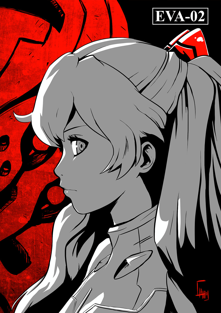 1girl black_background character_name close-up ctiahao english_commentary eva_02 highres looking_at_viewer looking_to_the_side mecha neon_genesis_evangelion parody persona persona_5 plugsuit souryuu_asuka_langley spot_color style_parody