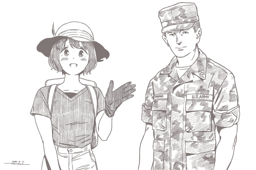 1boy 1girl :d backpack bag blush brown_theme closed_mouth cosplay dated english_text gloves hat hat_feather horikou kaban_(kemono_friends) kaban_(kemono_friends)_(cosplay) kemono_friends looking_at_viewer military military_hat military_uniform monochrome open_mouth original pants real_life shima_saki shirt signature simple_background smile uniform united_states_army white_background yurucamp