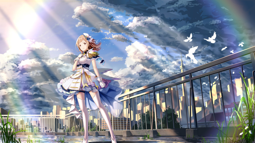 1girl absurdres ayano_yuu_(sonma_1426) bangs beret bird blue_capelet blue_sky brown_eyes building capelet cityscape closed_mouth clouds cloudy_sky commentary_request day dress gloves grass hat highres idol idolmaster idolmaster_shiny_colors light_brown_hair looking_at_viewer medium_hair mini_hat outdoors overcast railing sakuragi_mano shoes short_dress sky smile solo standing sunlight thigh-highs thigh_strap tilted_headwear white_dress white_footwear white_gloves white_headwear white_legwear wind