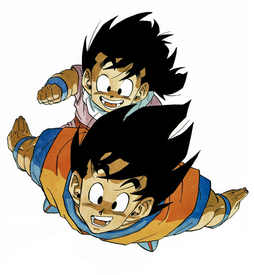 2boys arms_at_sides backlighting black_eyes black_hair carrying clenched_hand close-up commentary dark_skin dark_skinned_male dougi dragon_ball dragon_ball_z face father_and_son fingernails flying full_body grin happy highres looking_afar male_focus messy_hair multiple_boys muscle official_art open_mouth outstretched_hand piggyback shaded_face simple_background sitting smile son_gohan son_gokuu teeth toriyama_akira white_background wristband