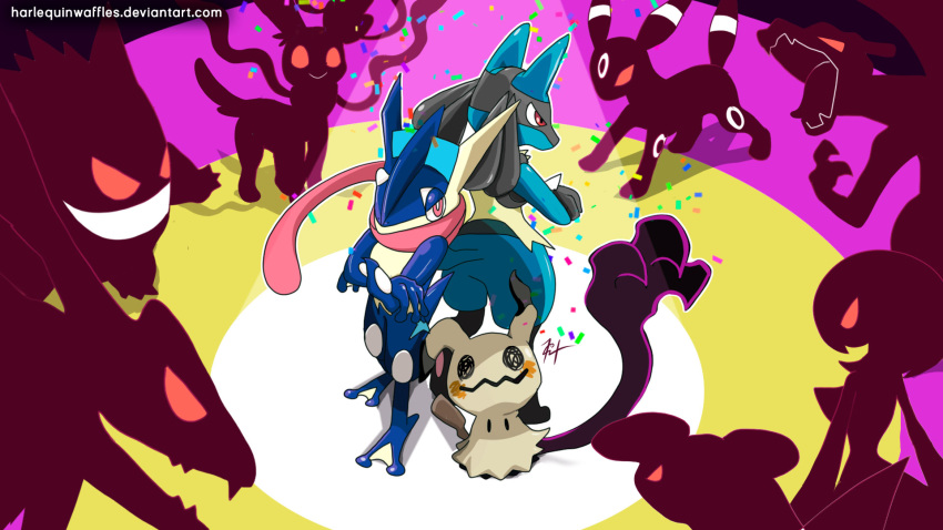 charizard commentary confetti crossed_arms deviantart_username english_commentary evil_grin evil_smile garchomp gardevoir gen_1_pokemon gen_2_pokemon gen_3_pokemon gen_4_pokemon gen_6_pokemon gen_7_pokemon gengar glowing glowing_eyes greninja grin harlequinwaffles highres legendary_pokemon looking_at_another looking_at_viewer lucario mimikyu no_humans pokemon pokemon_(creature) rayquaza signature silhouette smile spotlight standing surrounded sylveon umbreon watermark web_address