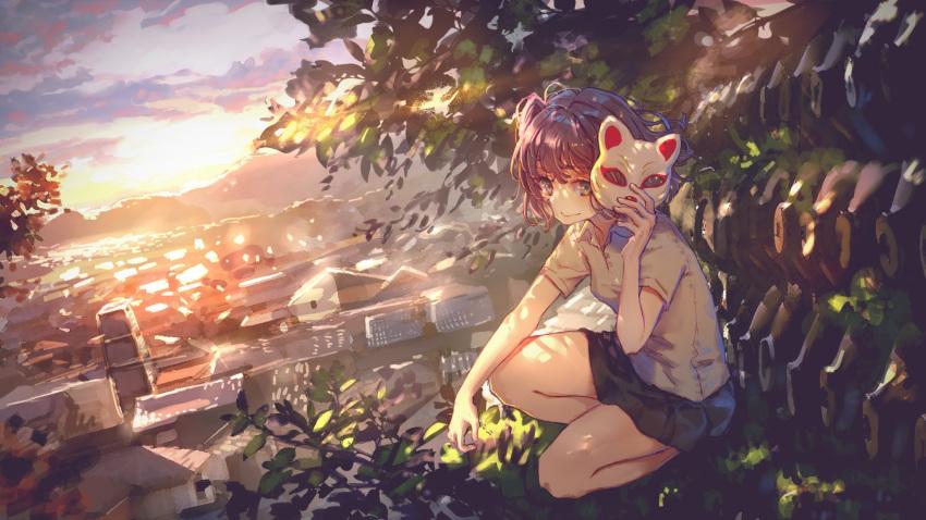 1girl black_skirt brown_eyes brown_hair building cityscape fox_mask highres in_tree mask mountainous_horizon nakitai_watashi_wa_neko_wo_kaburu outdoors roki_(0214278) short_sleeves skirt smile solo sunlight sunset tenjin_kotone tenjin_kotone_(channel) tree virtual_youtuber yuuyake_koyake