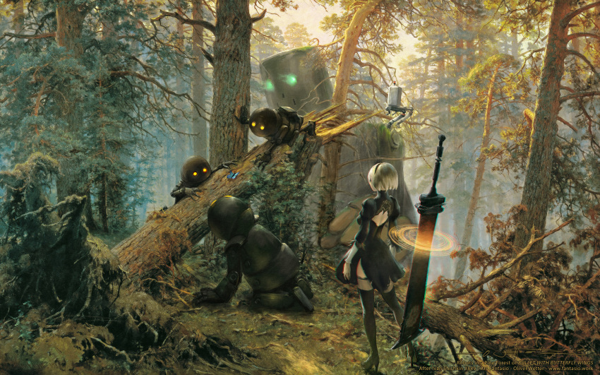 1girl animal black_blindfold black_hairband black_legwear blindfold boots bug butterfly fine_art_parody floating floating_weapon forest glowing glowing_eyes green_eyes hairband high_heels highres insect knee_boots landscape log morning_in_a_pine_forest moss nature nier_(series) nier_automata oliver_wetter orange_eyes outdoors painting parody pod_(nier_automata) robot short_hair standing sword thigh-highs weapon white_hair yorha_no._2_type_b