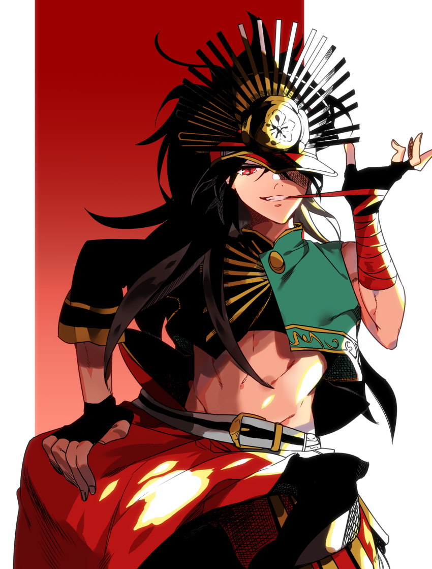 1boy bandages bangs black_hair capelet crop_top family_crest fate/grand_order fate_(series) fingerless_gloves gloves hair_over_one_eye hat highres isaka looking_at_viewer male_focus oda_kippoushi_(fate) oda_nobunaga_(fate)_(all) oda_uri one_eye_covered peaked_cap ponytail red_eyes shiny shiny_hair simple_background single_sleeve smile solo upper_body