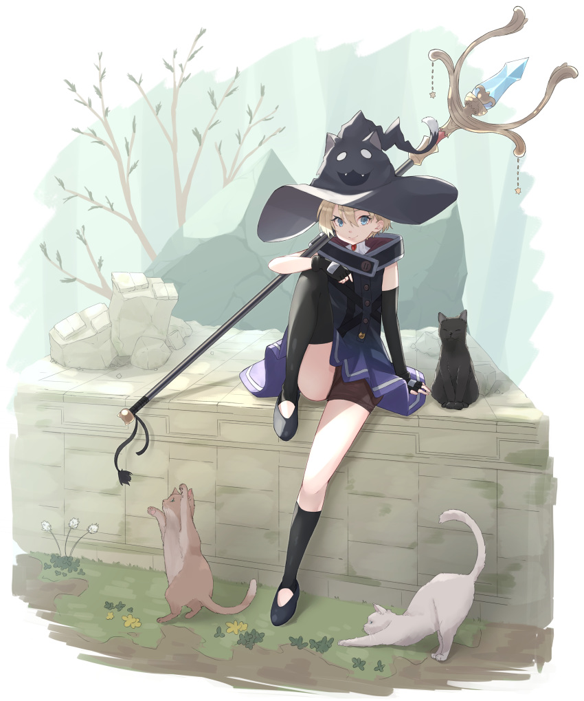 1girl absurdres animal animal_ears black_footwear black_gloves black_headwear black_legwear blonde_hair blue_dress blue_eyes branch cat cat_ears cat_tail closed_mouth crystal dress fangs fingerless_gloves forest gloves hair_between_eyes hat highres holding holding_staff mage nature open_mouth original rock seijun_(seijun01) short_hair sitting smile staff star_(symbol) tail thigh-highs turtleneck witch_hat