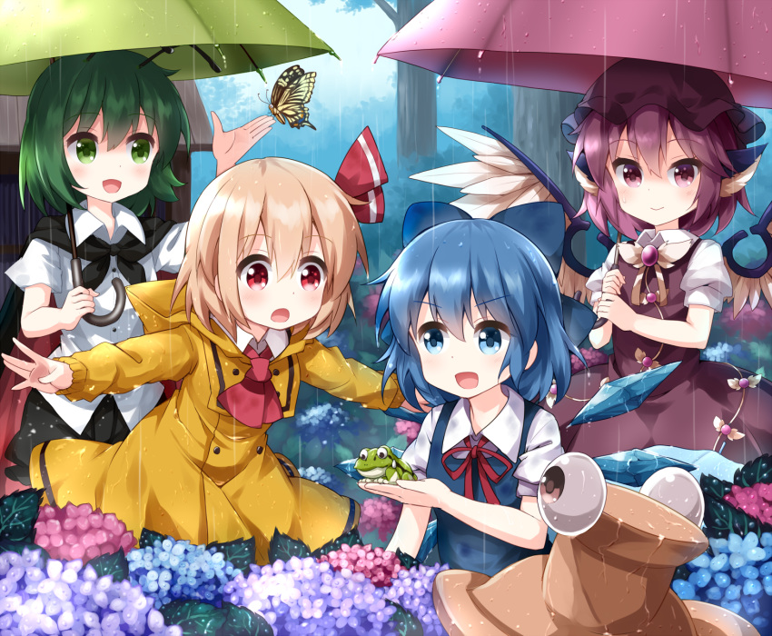 4girls :o animal antennae ascot bangs bird_wings black_cape black_headwear black_shorts blue_bow blue_dress blue_eyes blue_flower blue_hair bow brown_dress brown_headwear bug butterfly cape cirno coat collared_shirt commentary_request day dress dress_shirt eyeball eyebrows_visible_through_hair eyes_visible_through_hair feathered_wings flower frog green_eyes green_hair green_umbrella hair_between_eyes hair_bow hair_ornament hair_ribbon hand_up hat hat_removed headwear_removed highres holding holding_animal holding_umbrella hood hood_down hydrangea ice ice_wings insect light_brown_hair mob_cap multiple_girls mystia_lorelei neck_ribbon open_mouth outdoors outstretched_arms puffy_short_sleeves puffy_sleeves purple_flower purple_hair pyonta rain raincoat red_cape red_eyes red_neckwear red_ribbon red_umbrella ribbon rumia ruu_(tksymkw) shirt short_shorts short_sleeves shorts skirt sleeveless sleeveless_dress spread_arms team_9 touhou tree two-handed umbrella violet_eyes water_drop wet wet_clothes white_shirt white_wings wings wriggle_nightbug yellow_coat
