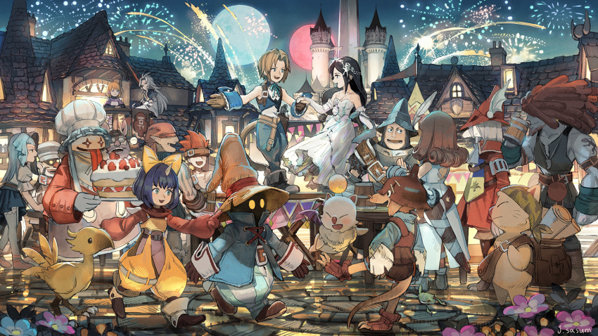 6+boys 6+girls adelbert_steiner armor baku_(ff9) bandana beatrix_(ff9) beer_mug blank cake castle chocobo cinna cup dress eiko_carol everyone final_fantasy final_fantasy_ix fireworks food freija_crescent garnet_til_alexandros_xvii hairlocs hat helmet highres holding_hands kuja marcus mikoto_(ff9) moon mug multiple_boys multiple_girls night night_sky puck_(ff9) quina_quen ruby_(ff9) salamander_coral sasumata_jirou sky smile stiltzkin tongue tongue_out vivi_ornitier white_dress zidane_tribal