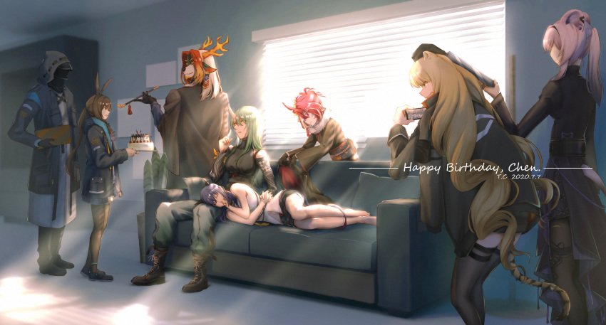 absurdres arknights arm_ribbon black_shorts blonde_hair boots cellphone ch'en_(arknights) character_request closed_mouth couch curtains dragon_horns happy_birthday highres holding holding_hands holding_phone horns hoshiguma_(arknights) indoors lying on_side paper phone redhead ribbon shirt shorts silver_hair sleeping sleeveless sleeveless_shirt smartphone thighs tory-chen white_shirt window yellow_neckwear