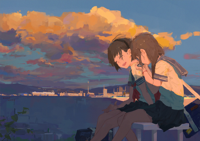 2girls arm_support artist_name bag black_hair black_skirt blue_sailor_collar bob_cut bracelet brown_hair chinese_commentary cityscape closed_eyes clouds cloudy_sky commentary dated dress_shirt hair_over_eyes hand_on_own_leg hand_to_own_mouth harmonica highres holding holding_instrument instrument jewelry leaf leaning_forward long_hair messy_hair mole mole_under_eye multiple_girls music neckerchief original plant playing_instrument pleated_skirt red_neckwear sailor_collar scenery school_uniform serafuku shirt short_hair signature sitting skirt sky smile strap sunset twintails white_shirt wind xilmo