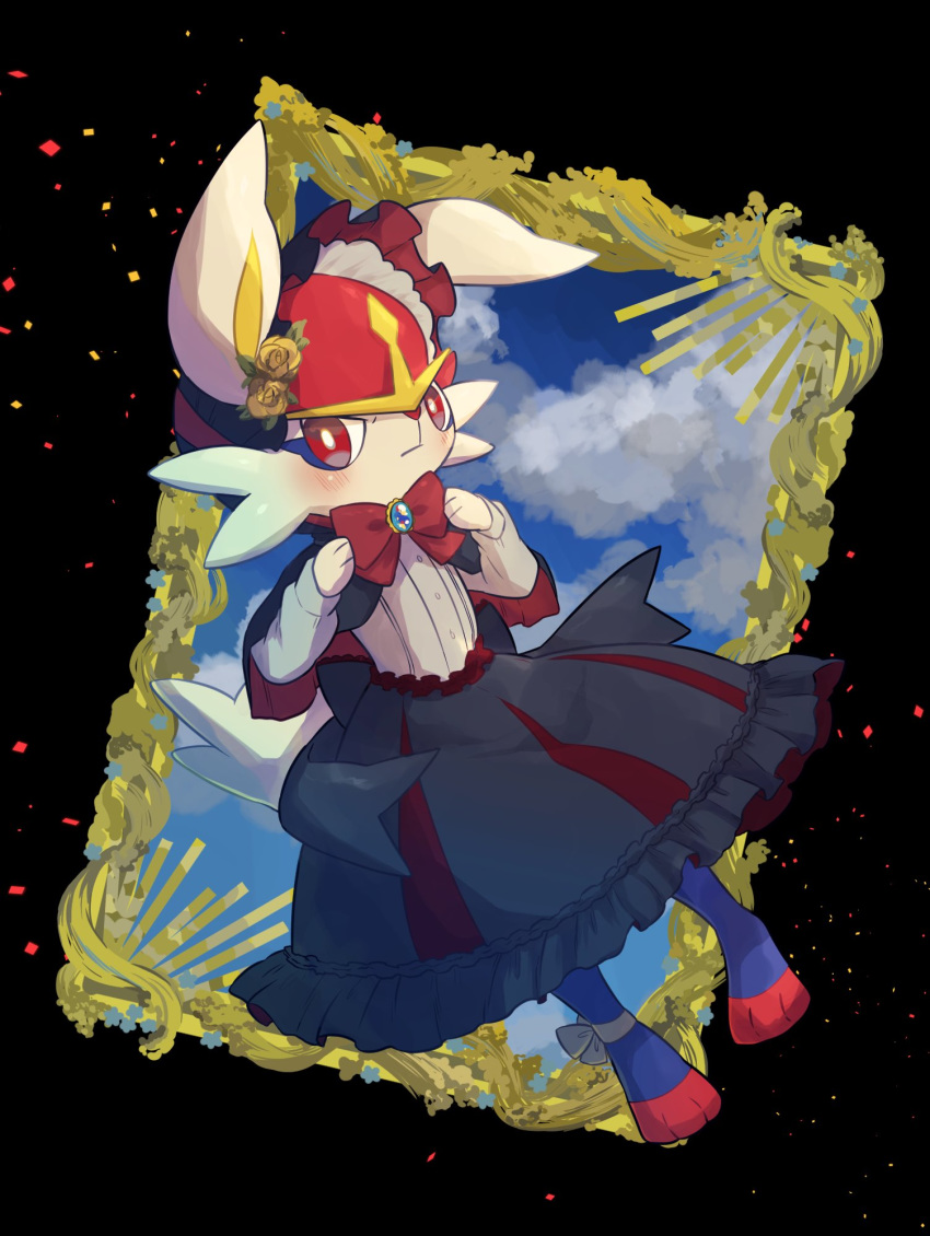 1boy animal_ears ankle_ribbon black_capelet black_headwear black_skirt blue_sky blush bonnet bow bowtie brooch bunny_tail capelet cinderace closed_mouth clothed_pokemon clouds commentary dutch_angle flower frilled_skirt frills full_body furry gen_8_pokemon gothic_lolita hair_flower hair_ornament hands_up highres jewelry jpeg_artifacts lolita_fashion long_sleeves looking_at_viewer male_focus no_humans nullma otoko_no_ko paws pokemon pokemon_(creature) rabbit_ears red_eyes red_neckwear ribbon rose shirt skirt sky solo standing tail white_ribbon white_shirt yellow_flower yellow_rose