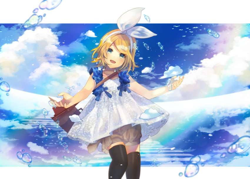 1girl aqua_eyes bag bangs black_legwear blonde_hair blue_sky bow clouds commentary cowboy_shot dress hair_bow head_tilt kagamine_rin looking_at_viewer ocean open_mouth outstretched_arms pantyhose rainbow short_hair shorts shoulder_bag sky smile solo soriku swept_bangs thighband_pantyhose vocaloid water_drop white_bow white_dress