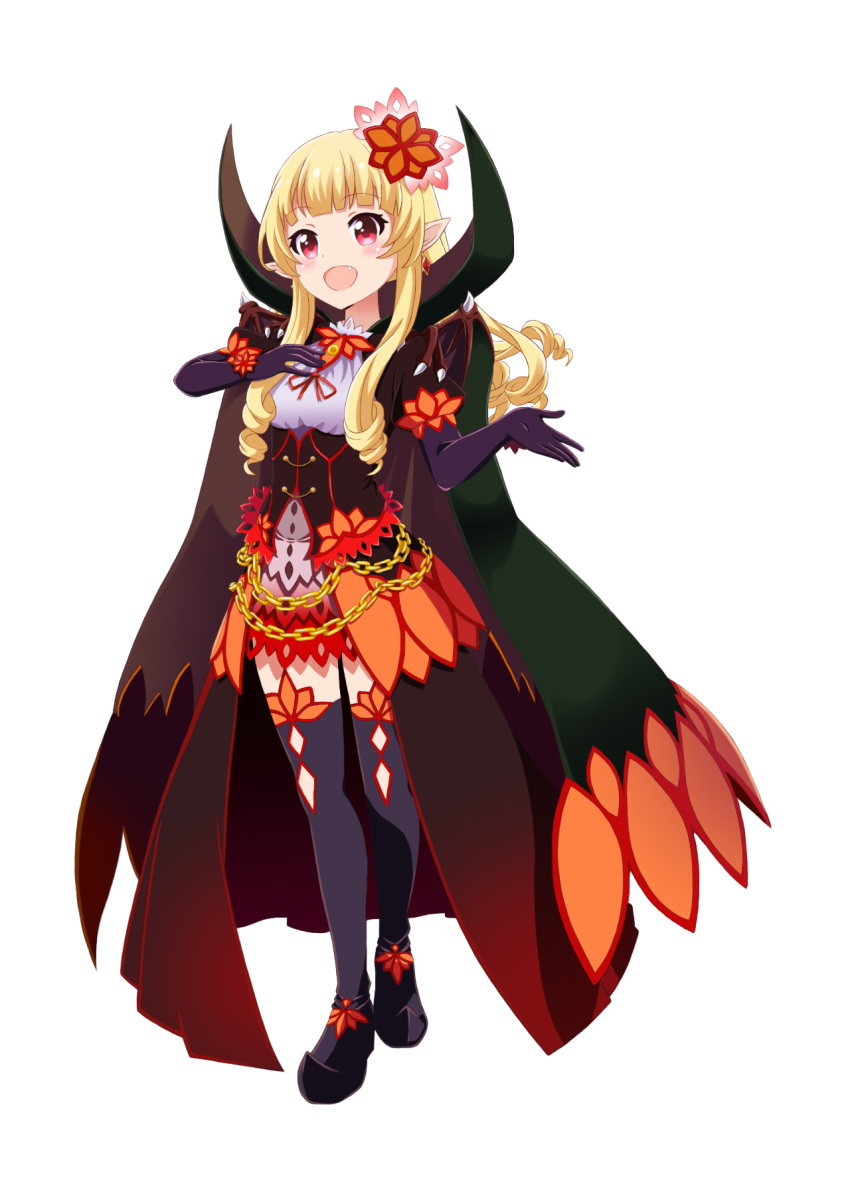 1girl :d bangs battle_girl_high_school black_gloves black_legwear blonde_hair blunt_bangs breasts cape chain commentary earrings elbow_gloves fang full_body gloves hair_ornament hand_on_own_chest highres jewelry lee_xianshang long_hair monster_girl_encyclopedia monsterification open_mouth outstretched_hand pointy_ears red_eyes ringlets sendouin_kaede sidelocks simple_background small_breasts smile solo standing thigh-highs underbust vampire_(monster_girl_encyclopedia) white_background