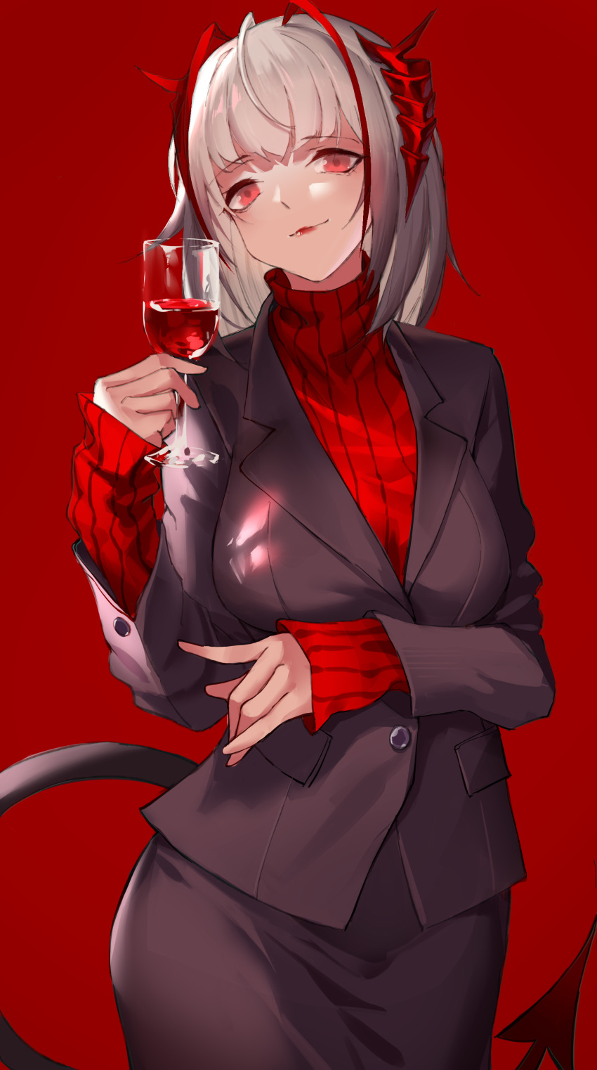 1girl absurdres ahoge alcohol alternate_costume arknights bangs bankongping black_jacket black_skirt blazer breasts cowboy_shot cup drinking_glass hand_up head_tilt highres holding holding_cup horns jacket lipstick long_sleeves looking_at_viewer makeup medium_breasts red_background red_eyes red_lipstick red_sweater short_hair silver_hair simple_background skirt smile solo sweater tail turtleneck turtleneck_sweater w_(arknights) wine wine_glass