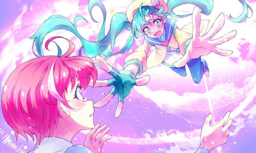 2girls :d ahoge antennae aqua_eyes aqua_hair beret birthday blush close-up commentary_request dress eyebrows_visible_through_hair fingerless_gloves floating_hair foreshortening from_below from_side gloves hagoromo_lala happy happy_tears hat heart heart_print high_heels highres hoshina_hikaru imminent_hug jumpsuit kyoutsuugengo lips long_hair midair multicolored_hair multiple_girls older open_mouth outstretched_arm pantyhose pink_eyes pink_hair pointy_ears precure sailor_collar short_hair single_glove smile sparkle star-shaped_pupils star_(symbol) star_in_eye star_twinkle_precure streaked_hair symbol-shaped_pupils symbol_in_eye tearing_up tears twintails very_long_hair