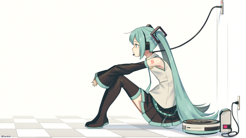 1girl android aqua_eyes aqua_hair aqua_nails aqua_neckwear bare_shoulders black_legwear black_skirt black_sleeves boots cable charging_device commentary detached_sleeves electric_socket expressionless from_side grey_shirt hair_ornament hatsune_miku headphones headset long_hair machine miniskirt nail_polish necktie pleated_skirt plug shirt shoulder_tattoo sitting skirt sleeveless sleeveless_shirt solo symbol_commentary tattoo thigh-highs thigh_boots tile_floor tiles torla16 twintails very_long_hair vocaloid white_background zettai_ryouiki