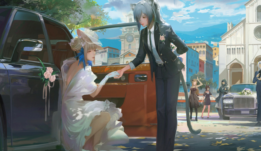 1boy 1other 4girls a-m-one animal_ears arknights arm_behind_back arms_up backless_dress backless_outfit bangs belt black_dress black_legwear blazer blonde_hair blue_hair blue_jacket blue_pants braid braided_bun bride building butterfly_hair_ornament car ceylon_(arknights) character_request chinese_commentary church clapping closed_mouth collared_shirt commentary_request crossed_arms day doctor_(arknights) dress faceless faceless_female flower formal gloves ground_vehicle hair_bun hair_ornament hat highres holding holding_flower holding_hands horns jacket long_hair mini_hat motor_vehicle multiple_girls neck_ribbon outdoors pants pantyhose pink_flower pink_rose puffy_short_sleeves puffy_sleeves ribbon rose schwarz_(arknights) shirt short_sleeves sidelocks sitting sleeveless sleeveless_dress smile standing suit tail thumbs_up wedding_dress white_dress white_gloves white_headwear white_shirt wing_collar yellow_eyes yuri