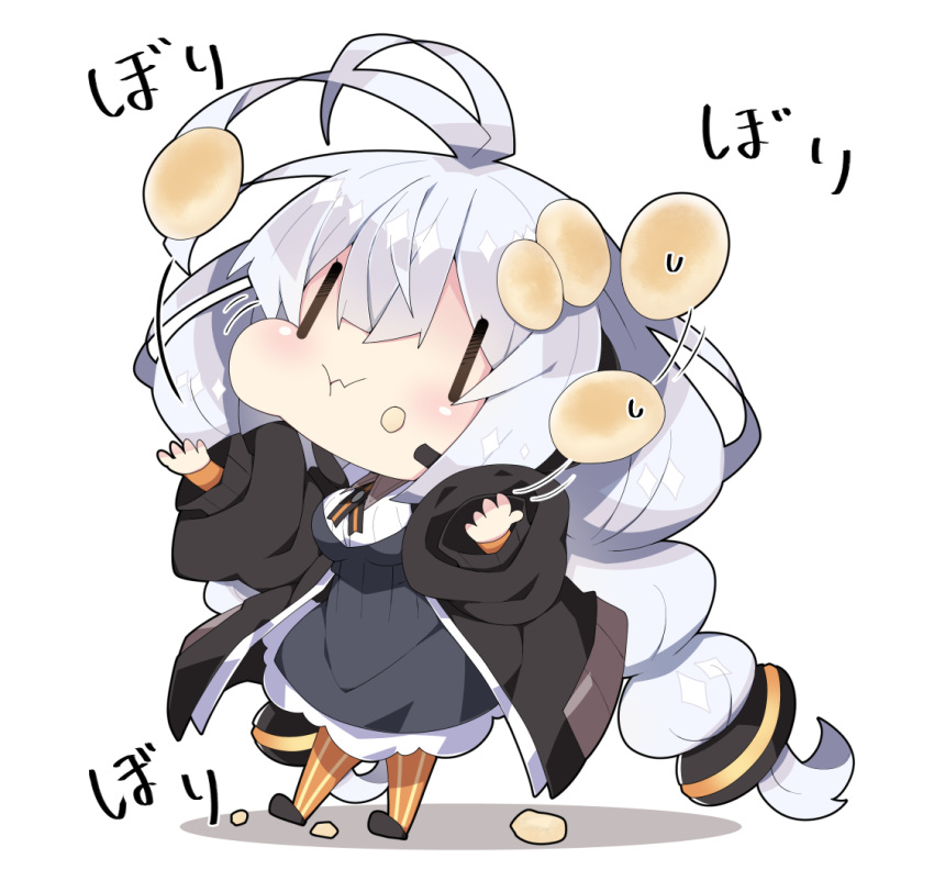 1girl :t antenna_hair bangs black_footwear black_jacket blush braid breasts closed_mouth collared_shirt commentary_request dress eating food food_on_face full_body grey_dress hair_between_eyes hair_ornament headset jacket juggling kizuna_akari large_breasts long_hair long_sleeves milkpanda open_clothes open_jacket orange_legwear pantyhose puffy_long_sleeves puffy_sleeves shadow shirt shoes silver_hair solo standing striped striped_legwear sweat translation_request twin_braids twintails vertical-striped_legwear vertical_stripes very_long_hair voiceroid wavy_mouth white_background white_shirt |_|