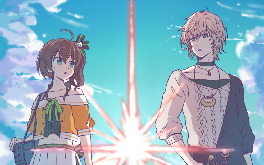 1boy 1girl ahoge aqua_eyes arm_at_side bag bangs bare_shoulders black_choker blue_sky brown_hair cat_hair_ornament choker clouds cloudy_sky collarbone crop_top eyebrows_visible_through_hair green_eyes hair_between_eyes hair_ornament handbag highres hololive holostars jacket jewelry kimi_no_na_wa. kukie-nyan long_hair looking_at_another midriff mixed-language_commentary natsuiro_matsuri navel necklace off-shoulder_jacket open_mouth outdoors pants pink_hair pleated_skirt rikka_(holostars) shirt short_hair side_ponytail skirt sky standing sweater teeth upper_body virtual_youtuber white_shirt white_skirt yellow_jacket