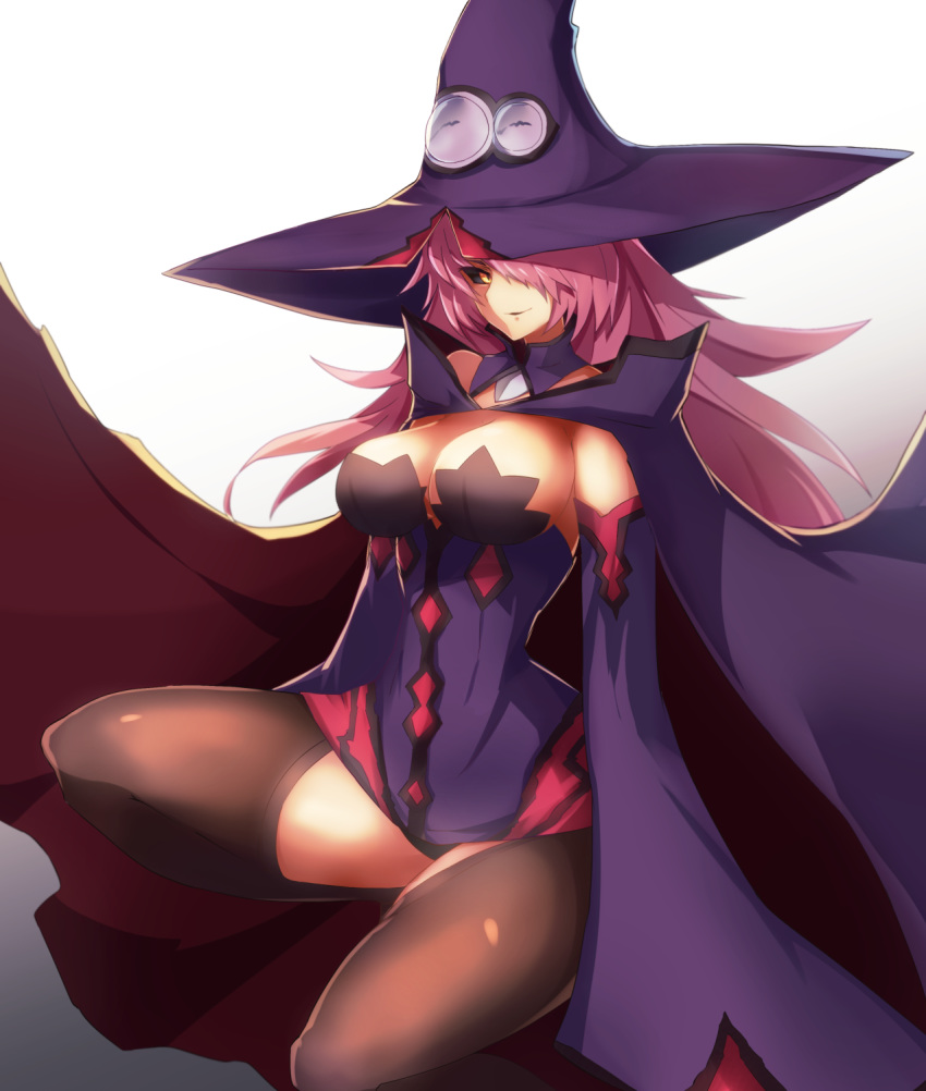 1girl alder bare_shoulders black_legwear black_sclera blazblue blazblue:_central_fiction breasts cape detached_sleeves dress floating_hair hair_over_one_eye hat highres konoe_a_mercury large_breasts long_hair long_sleeves looking_at_viewer parted_lips pink_hair short_dress simple_background smile solo squatting thigh-highs wide_sleeves witch_hat yellow_eyes