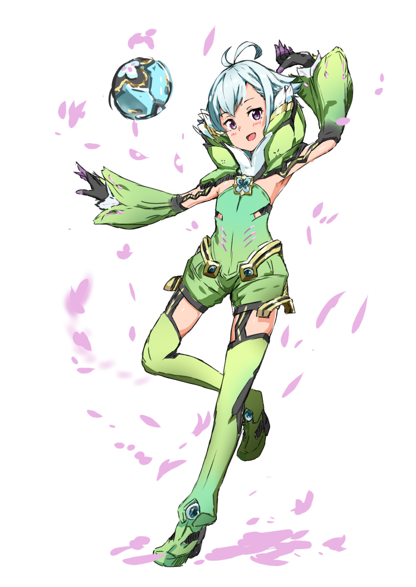 1boy :d absurdres aotsuba armpits ball blue_hair blush full_body gloves green_legwear highres hotaru_(xenoblade) looking_at_viewer open_mouth otoko_no_ko silver_hair simple_background smile solo thigh-highs violet_eyes white_background xenoblade_(series) xenoblade_2