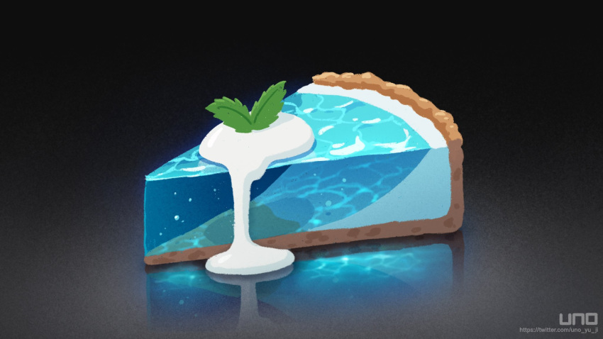 artist_name bubble commentary_request cream food gradient gradient_background grey_background highres leaf no_humans original pie pie_slice reflection shadow simple_background transparent uno_yuuji water watermark
