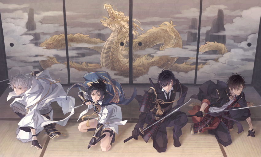 4boys arm_tattoo armor black_gloves black_hair brown_hair cape dragon eastern_dragon eyepatch feathers formal gloves hair_feathers highres hood japanese_armor japanese_clothes katana male_focus multiple_boys necktie one_knee ookurikara partly_fingerless_gloves sheath shokudaikiri_mitsutada short_sword shorts shoulder_armor sliding_doors sode suit suzuneko-rin sword taikogane_sadamune tantou tattoo touken_ranbu tsurumaru_kuninaga weapon white_hair yellow_eyes